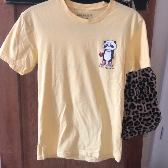 Riot society yellow t shirt men's S